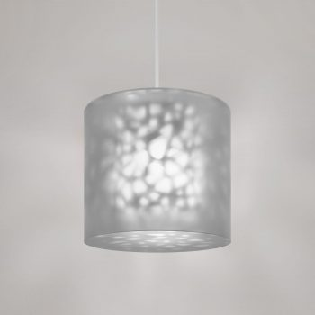 "Lumetta 18"" Pendant in Echo Grey Diffuser and Shell Pattern"