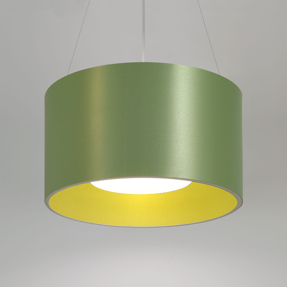 Acoustic LED pendant light. Choose acoustic, or acoustic/Lumenate® shades. Wide range of acoustic and Lumenate® colors/patterns.