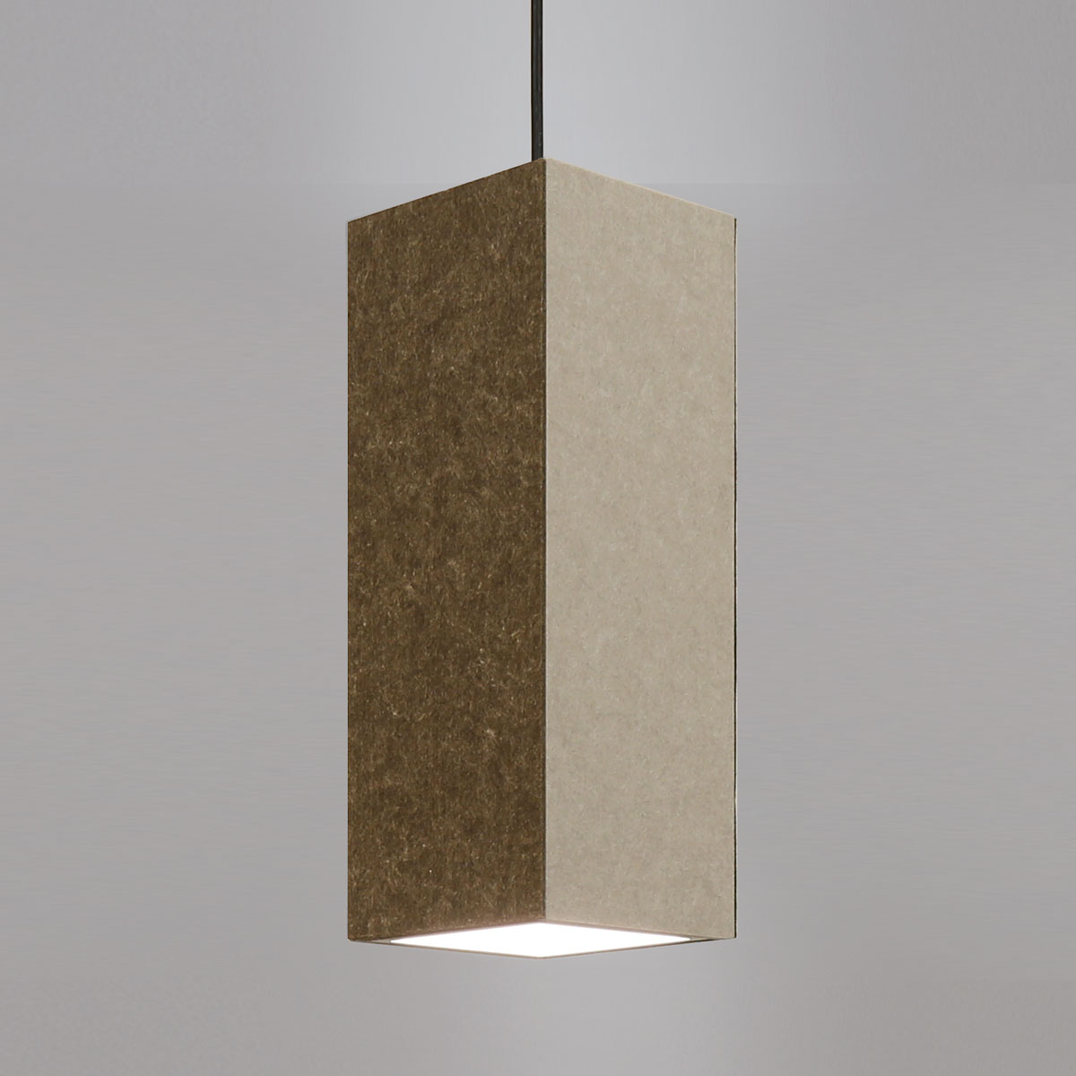 Acoustic LED pendant light with your choice of 2 of our 20 standard acoustic shade colors.