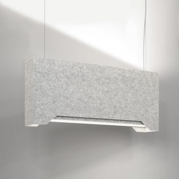 Acoustic LED pendant light with interlocking capabilities. Available in up to three shade color configurations