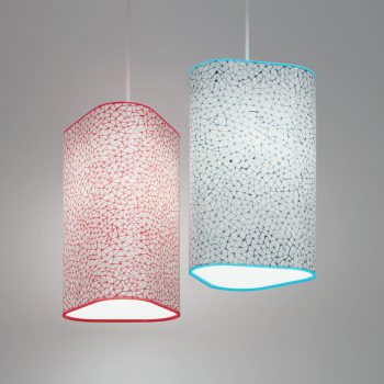 Custom Triangle Lite Pendants shown with modified Design Lumenate®. Complementary colored acrylic top and bottom rings are shown in red and blue.
